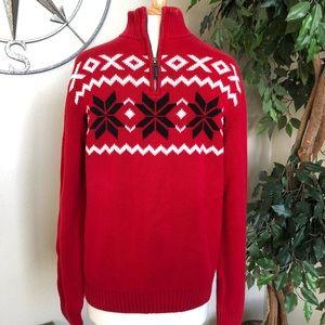 Chaps: Men's Christmas sweater Quarter zip